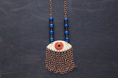 Evil Eye Necklace, Fringe Necklace, Blue and Orange Eye Necklace, Eye Jewelry, Good Luck Jewelry, Antique Copper Necklace, Fringe Jewelry