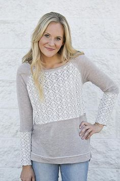 Lizzie & Mae - Lace Overlay Sweater