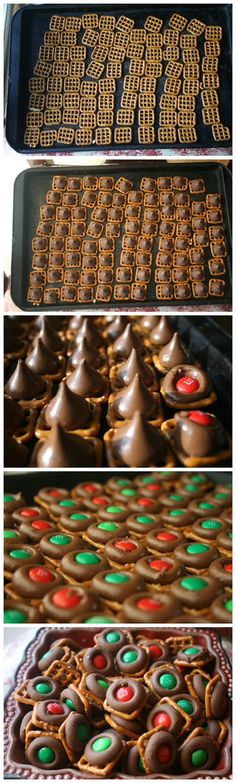 Easy Chocolate Pretzel Bites Recipe: made this one with kisses this time, very melty at 3 minutes, go for 2 next time! Holiday Snacks, Christmas Snacks, Christmas Cooking, Holiday Recipes, Diy Christmas, Christmas Candy, Christmas Goodies, Christmas Chocolate, Christmas Recipes