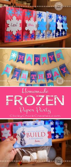 ClickyChickCreates.com // FROZEN Homemade birthday banner, do you want to build a snowman treat bags, snowflake goodie goody bags