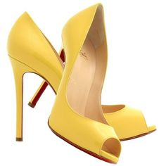 Christian Louboutin banana yellow patent leather peep toe pumps ❤ liked on Polyvore featuring shoes, pumps, heels, sapatos, scarpe, yellow heeled shoes, yellow patent leather pumps, peep-toe pumps, yellow pumps and peep toe shoes