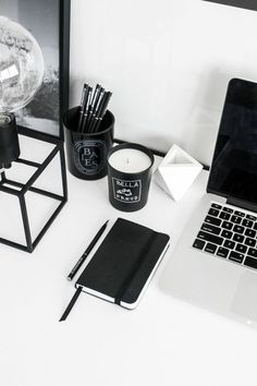 32 Trendy Ideas For Home Office Decor Black Monochrome Black And White Aesthetic, Black And White Office, Style Noir, By Any Means Necessary, Black Rooms, Pocket Notebook, Aesthetic Room Decor, Workspace Inspiration, Black Decor
