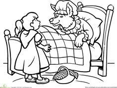 worksheets little red riding hood coloring page