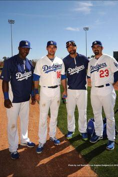 Hanley Ramirez, Andre Ethier, Matt Kemp, and Adrian Gonzalez at Camelback Ranch for spring training. #Dodgers