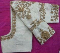 Custom fit pure raw silk blouse with zardosi embroidery Saree Blouse Patterns, Choli Designs, Fancy Blouse Designs, Bridal Blouse Designs, Blouse Neck Designs, Zardosi Embroidery, Gold Embroidery, Embroidery Blouses, Embroidery Suits