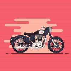 from @rajchozhiath - My ride... #royal #enfield #royalenfield #vectorart #motorbike #icon #illustration #adobe #illustrator #instaart #flatdesign #vector #art #bullet