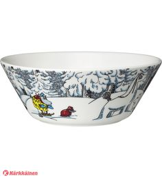 Moomin winter season bowl 2016 features Moomintroll, Hemulen, Sorry-oo and the Snowhorse from the book Moominland Midwinter. The design is based on Tove Jansson Tove Jansson, Moomin, Winter Season, Decorative Bowls, Kitchen Decor, Seasons, Tableware, Creative, Bath Room