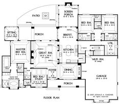 The Birchwood House Plans First Floor Plan - House Plans by Designs Direct. Love the floor plan.would only add a bathroom to the upstairs to bonus room. And maybe switch the Study and the Utility room! One Floor House Plans, Ranch House Plans, Dream House Plans, My Dream Home, Bedroom Floor Plans, Dream Homes, The Plan, How To Plan, Plan Plan