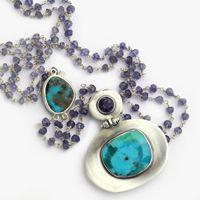 Silver and Semi Precious Stones Jewelry Design, Designer Jewellery, Jewelry Companies, Turquoise Stone, Stone Jewelry, Silver Necklaces, Handcrafted Jewelry, Jewelry Crafts, Turquoise Bracelet