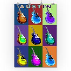 Austin, Texas - Guitar Pop Art - Lantern Press Artwork (36x54 Giclee Gallery Print, Wall Decor Travel Poster), Multi