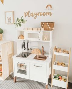 One of my favourite little spots in the playroom 😍 Elijah loves cooking up a storm here! Play kitchens have got to be one of my favourite toys for imaginary play! Watching Elijah's imagination burst with creativity as he plays here is just the best ❤ Montessori Playroom, Toddler Playroom, Ikea Kids Playroom, Children Playroom, Play Room For Kids, Little Girls Playroom, Family Room Playroom, Toddler Play Area, Modern Playroom