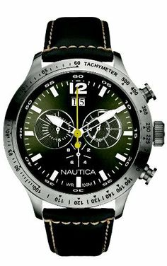Nautica Men's N19563G BFD 101 Chronograph Silver Dial Black Leather Watch NAUTICA. $190.00. Durable mineral crystal protects watch from scratches. Quartz movement. Chronograph movement. Water-resistant to 330 feet (100 M). Stainless-steel case