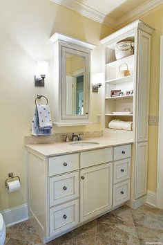 great use of vertical space in a small bathroom frame my big bathroom mirror and add this shelf in the corner