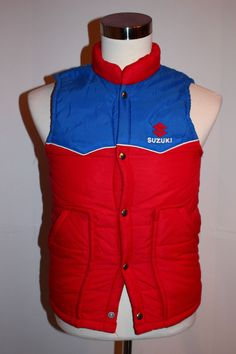 Vintage Swingster Suzuki Red Blue Puffer Vest Mens Small 1980s