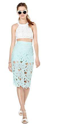 Crochet Floral Lace Skirt (Light Blue)