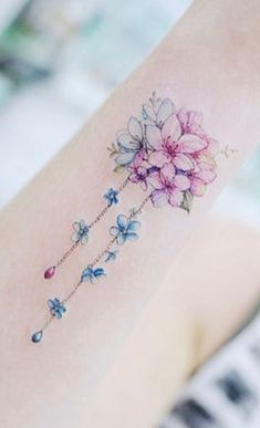 Cute Watercolor Bouquet of Flowers Arm Tattoo Ideas for Wome… – Everything for Tattoo Tattoos For Women Flowers, Flower Wrist Tattoos, Foot Tattoos For Women, Small Flower Tattoos, Tattoo Flowers, Tropical Flower Tattoos, Ankle Tattoos, Mom Tattoos, Cute Tattoos
