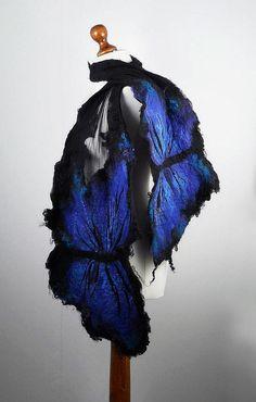 Felted Scarf  Butterfly Long Wrap Scarve  Felt Nunofelt Nuno felt Silk Silkyfelted  Eco shawl Fiber Art