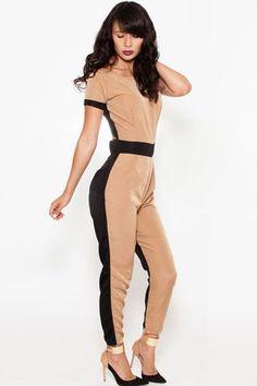 Black Khaki Cut-out Back Jumpsuit