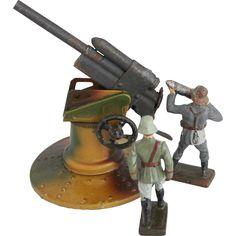 1930s Vintage German 88 mm Flak Gun Crew / Hausser LINEOL ELASTOLIN Toy Soldiers