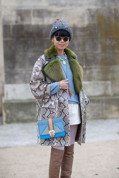 Street style 13 - snake skin and green fur