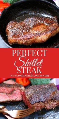 Perfect Skillet Steak Every Time! - a southern discourse This 3 ingredient easy recipe guarantees th Steak Recipes, Cooking Recipes, Skillet Recipes, Cast Iron Skillet Steak, Stove Top Steak, Steak Rubs, Juicy Steak, Cast Iron Cooking, Cooking