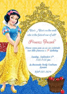 Snow White Printable Birthday Party by PartyInnovations09 on Etsy