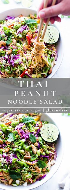 Crunchy veggies, edamame, rice noodles and a scrumptious garlicky, gingery peanut-lime dressing, tie this Thai Peanut Noodle Salad recipe together! Thai Peanut Salad, Thai Peanut Noodles, Rice Noodles, Healthy Cooking, Healthy Eating, Cooking Recipes, Healthy Steak, Healthy Meals, Healthy Salad Recipes
