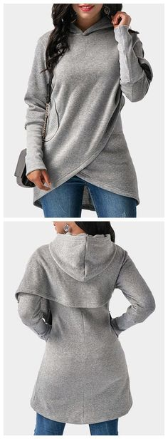 Sweatshirt is a good friend of autumn. This fashion hoodie, features cross front, hooded and side pockets design. While this fashion style make this piece a must-have of your wardrobe.