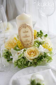 $kukkaのウエディングフラワーブック-ゲストテーブル,バラ,イエロー,黄色,キャンドル