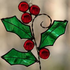 Holly Berry Sprig Reserved for clkt by theglassmenagerie on Etsy