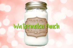 Watermelon Punch 16oz Scented Candle, Summer Candle, gifts for mom, Mason Jar Candle, Strong Scented Candles, Jolly Rancher, Gift for her by SilverDollarCandleCo on Etsy https://www.etsy.com/uk/listing/454211686/watermelon-punch-16oz-scented-candle