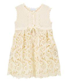 Another great find on #zulily! Cream Crochet-Accent Sleeveless Dress - Infant & Toddler #zulilyfinds
