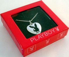 Sterling-Silver-Playboy-Necklace-Bunny-Heart-Charm-Pendant-925-Logo-Box-RARE-HTF