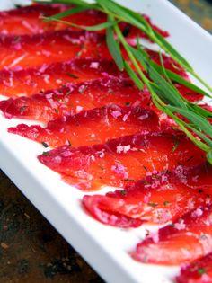 Beet Cured Salmon with Dill, Tarragon & Fresh Horseradish
