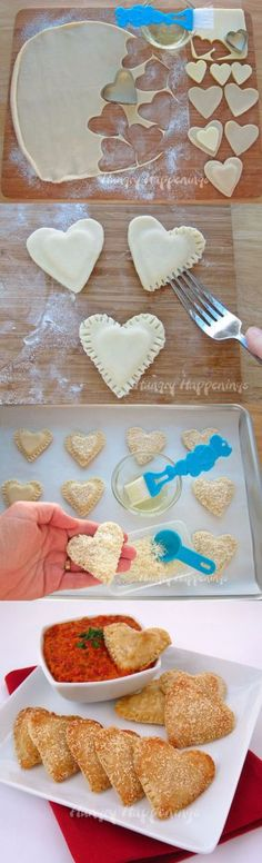 Mozzarella Cheese Filled Hearts – with Roasted Red Pepper Pesto Pillsbury Pie Crust recipe, heart shaped pie, heart shaped food, valentine's day recipes-vert Valentines Day Dinner, Valentines Food, Valentines Recipes, Pillsbury Pie Crust Recipes, Holiday Treats, Holiday Recipes, Snacks Für Party, I Love Food, Kids Meals