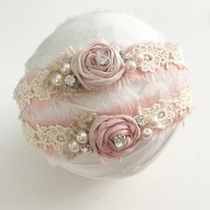 Linen Tieback with Lace, Rosette and PearlsPlease Allow up to 10 Days for this Item to Ship, as it is Made to Order. Vintage Headbands, Handmade Headbands, Diy Headband, Floral Headbands, Newborn Headbands, Baby Girl Headbands, Floral Crowns, Baby Hair Accessories, Handmade Hair Accessories