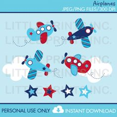 Airplane Clipart INSTANT DOWNLOAD por LittlePrintsParties en Etsy
