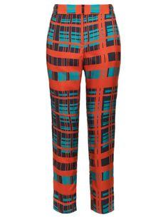 Emerald Plaid Silk Trousers | Peter Som | Avenue32