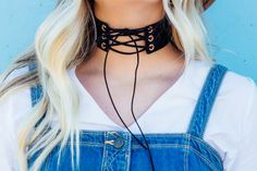 Lace Up Choker // BHN Clothing // @beherenowclothing // www.bhnclothing.com // Lace up, tie choker necklace, 90s style, boho style, fall outfit.