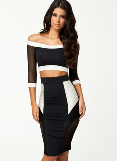 Black Little Black Dress - Quontum Black/Off White Crop Top | UsTrendy