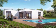 Bei dieser modernen und gradlinigen Hausidee mit Flachdach befinden sich alle Räume auf einer Etage. Egal ob für Familien, Paare oder Singles; im Florida ist vieles möglich. Vom gedeckten Sitzplatz reicht der Ausblick passenderweise auf den eigenen Pool, eine schöne Wiese oder ein Biotop. Lass auch Du dich inspirieren. Dein bautrends.ch - Inspirationsteam. . . #bungalow #schlüsselfertig #einfamilienhaus #hausbau #neubau #hausplanung #hausidee #konzepthaus #haustyp #atmoshaus #bautrends Bungalows, Florida, Modern, Outdoor Decor, Home Decor, First Home, Petite Piscine, Flat Roof, Building Homes