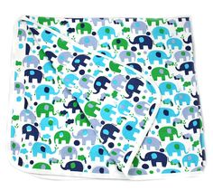 Organic Cotton Baby Blanket (Blue Elephants) Reversible, Double Layer