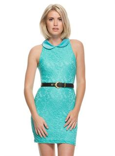 Aqua Lace Like Dress