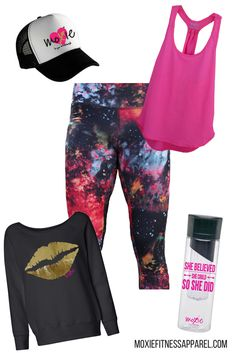 Look cute before, during and after your workout! Supernova capris, Moxie Collection Tank, Gold Lips Sweatshirt, Moxie Heart Hat and Fruit Infusing Water Bottle, all from moxiefitnessapparel.com