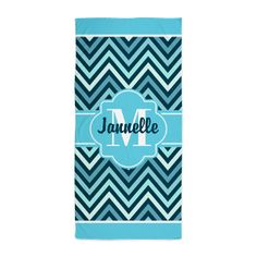 Aqua Teal Chevron Custom Monogram Beach Towel