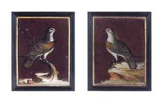 A PAIR OF ENGLISH REVERSE-PAINTED GLASS BIRD PLAQUES,  20TH CENTURYhttp://www.christies.com/