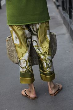 Pyjama pants made from Hermes scarves. Sooo clever!!