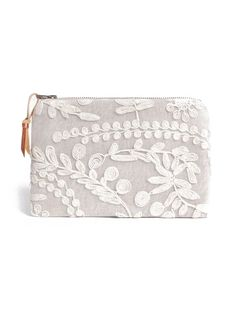 Linen and Lace zip clutch purse