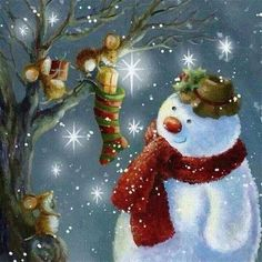 Only Christmas magic can bring frosty to life! Christmas Scenes, Vintage Christmas Cards, Christmas Pictures, Christmas Snowman, Winter Christmas, Christmas Holidays, Christmas Crafts, Christmas Decorations, Christmas Ornaments