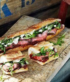 rare roast beef baguettes with roast tomato and currant chutney (Australian Gourmet Traveler) sandwiches-burgers Roast Beef Baguette, Rare Roast Beef, Baguette Recipe, Baguette Sandwich, Roast Beef Wrap, Sandwich Menu, Steak Sandwich Recipes, Roast Brisket, Sandwich Fillings